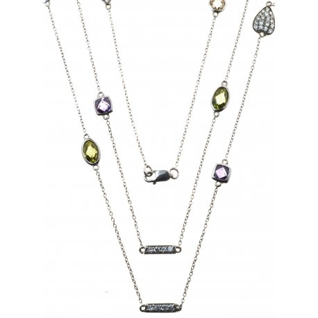 Колье женское серебряное 925* родий цирконий Арт 12 1064