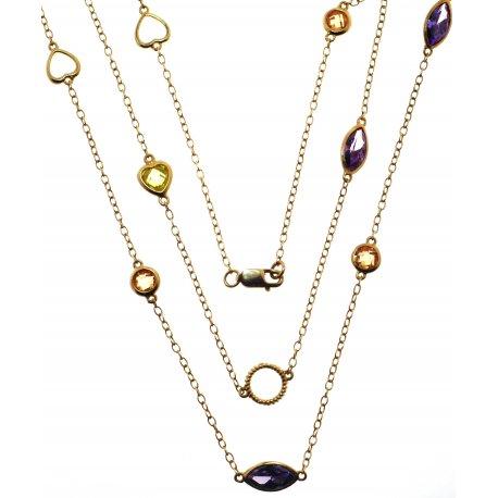 Колье женское серебряное 925* позолота цирконий Арт 52 1057А