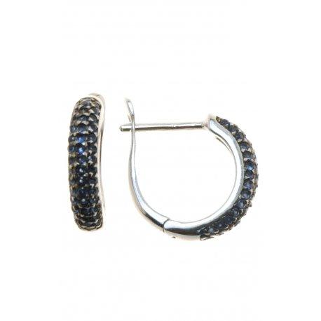 Серьги женские серебряные 925* родий цирконий Арт 115 0104с