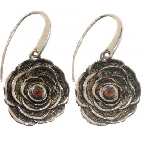 Серьги женские серебряные 925* родий чернение гранат Арт 11 2 4243