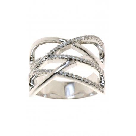 Кольцо женское серебряное 925* родий цирконий Арт 155 363