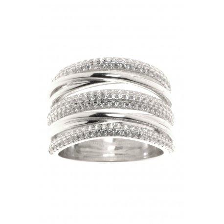 Кольцо женское серебряное 925* родий цирконий Арт 155 360