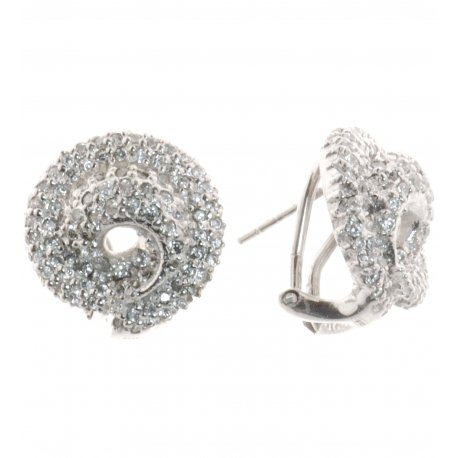 Серьги женские серебряные 925* родий цирконий Арт 110 551