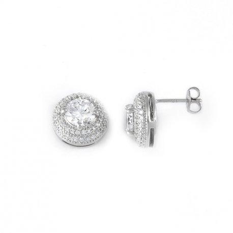 Серьги женские серебряные 925* родий цирконий Арт 115 004