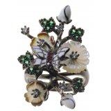 Кольцо женское серебряное 925* чернение перламутр циркон эмаль Арт 15 4 1195