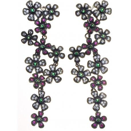Серьги женские серебряные 925* чернение цирконий Арт 11 4 2112