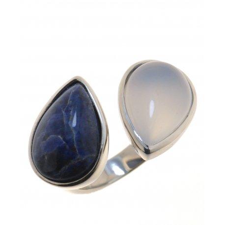 Каблучка жіноча срібна 925* содаліт халцедон родій Арт 15 7613