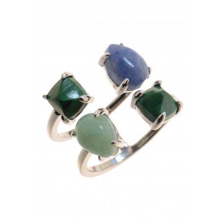 Кольцо женское серебряное 925* родий малахит амазонит кварц Арт15 7652