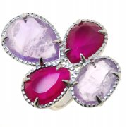 Кольцо женское серебряное 925* родий аметист агат Арт 15 7540