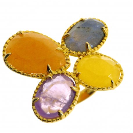 Кольцо женское серебряное 925* позолота лабрадорит кальцит авантюрин аметист Арт 55 7542