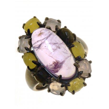 Кольцо женское серебряное 925* чернение аметист кальцит обсидиан кварц Арт 15 7264