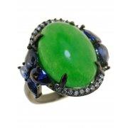 Кольцо женское серебряное 925* чернение халцедон циркон Арт 15 7477