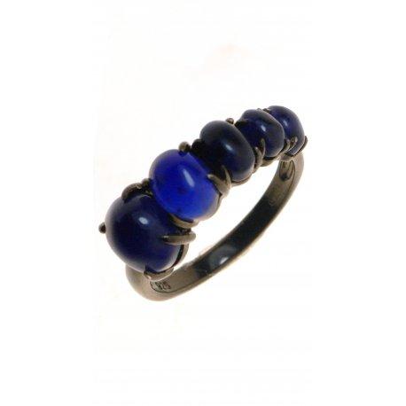 Кольцо женское серебряное 925* чернение содалит Арт 15 7375