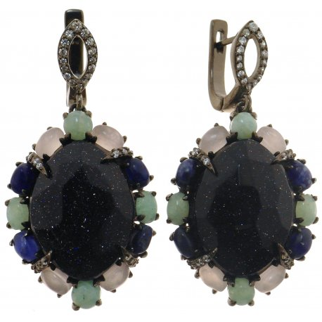Сережки жіночі срібні 925* чорніння авантюрин кварц амазоніт содаліт циркон Арт 11 8748
