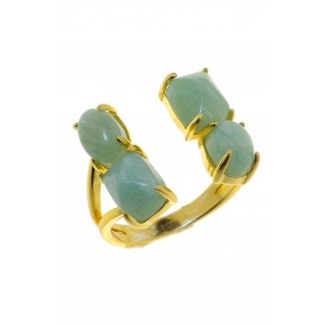 Кольцо женское серебряное 925* позолота амазонит Арт 55 7649
