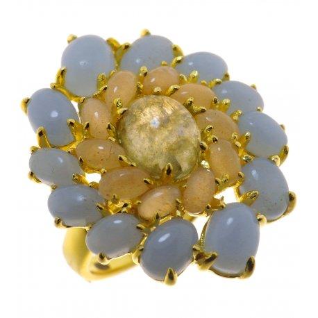 Кольцо женское серебряное 925* позолота лунный камень лабрадорит ангелит цирконий Арт 55 7838