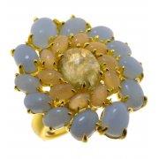 Каблучка жіноча срібна 925* позолота місячний камінь лабрадорит ангеліт цирконій Арт 55 7838