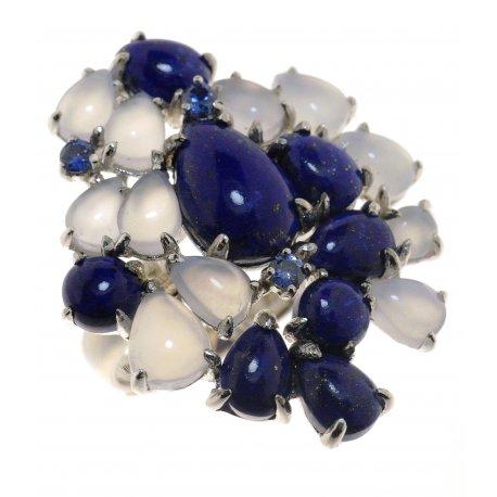 Кольцо женское серебряное 925* родий лазурит халцедон циркон Арт 15 7837