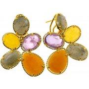 Серьги женские серебряные 925* позолота авантюрин аметист лабрадорит кальцит Арт 51 9115