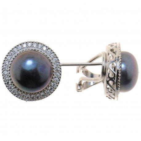 Серьги женские серебряные 925* культивированный жемчуг цирконий Арт 11 6 0656ч