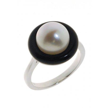 Кольцо женское серебряное 925* культивированный жемчуг родий агат Арт 15 6 0691