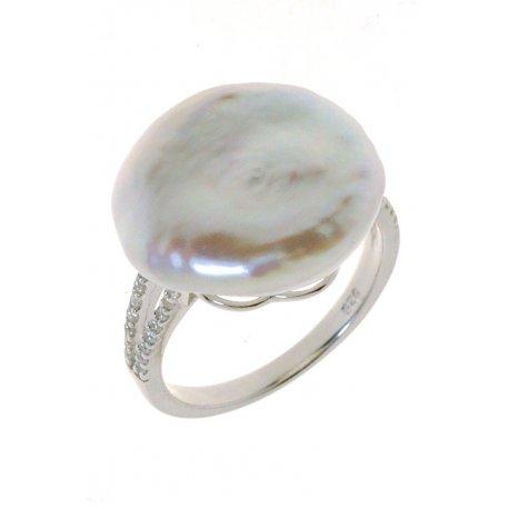 Кольцо женское серебряное 925* культивированный жемчуг цирконий Арт 15 6 1603