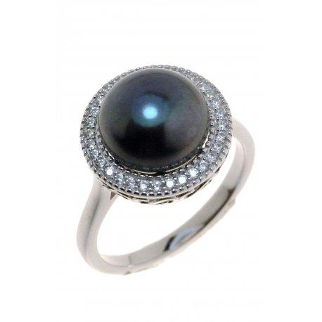 Каблучка жіноча срібна 925* культивовані перли цирконій Арт 15 6 0681ч