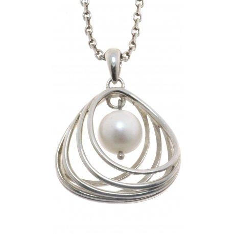 Колье женское серебряное 925* родий синт. жемчуг Арт 12 2 7048