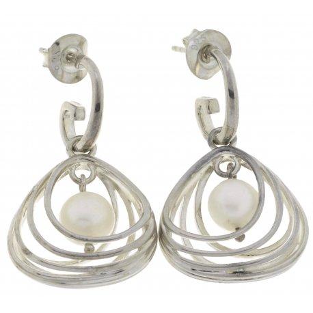 Сережки жіночі срібні 925* родій синт. перли Арт 11 2 5185