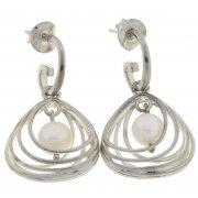 Серьги женские серебряные 925* родий синт. жемчуг Арт 11 2 5185