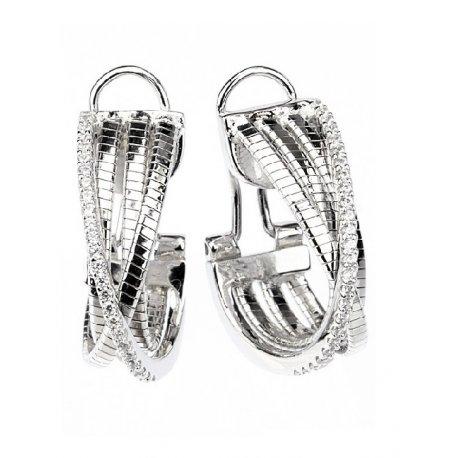 Серьги женские серебряные 925* родий цирконий Арт 11 7 2705-1б