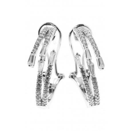 Сережки жіночі срібні 925* родій цирконій Арт 11 7 2840б