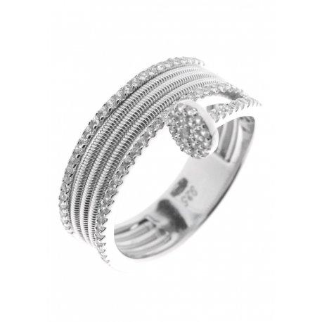 Каблучка жіноча срібна 925* родій цирконій Арт 15 7 2437б