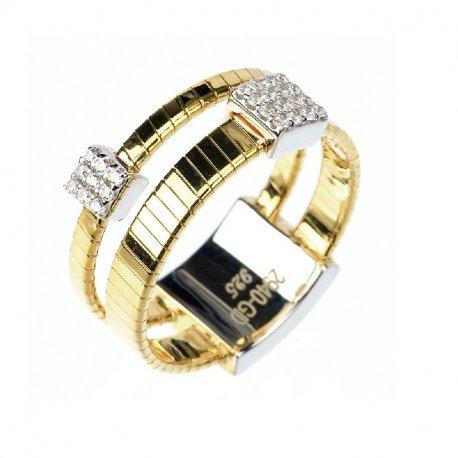 Кольцо женское серебряное 925* позолота цирконий Арт 55 7 2940жб