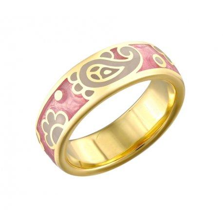 Кольцо женское серебряное 925* позолота эмаль Арт55 8 3889