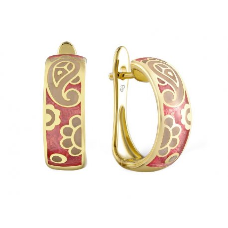 Серьги женские серебряные 925* позолота эмаль Арт51 8 3901