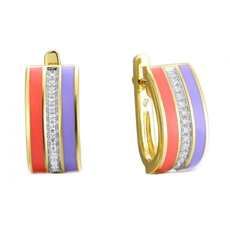 Серьги женские серебряные 925* позолота эмаль Арт51 8 2074