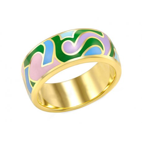 Кольцо женское серебряное 925* позолота эмаль Арт55 8 7638