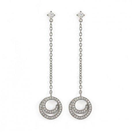 Серьги женские серебряные 925* родий цирконий Арт 115 064