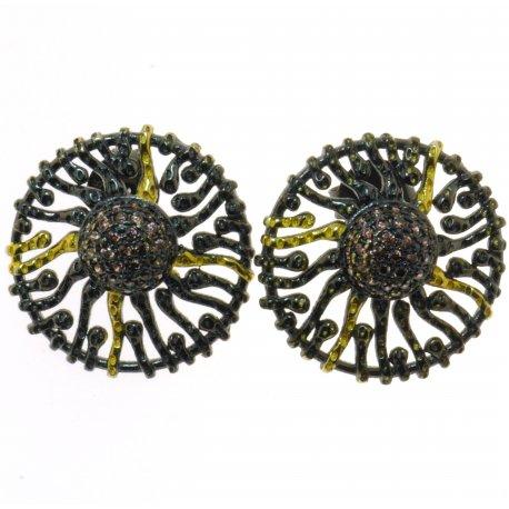 Серьги женские серебряные 925* чернение цирконий Арт 11 4 2376