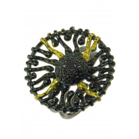 Кольцо женское серебряное 925* чернение цирконий Арт 15 4 1428