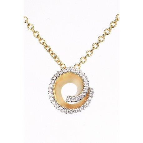 Колье женское серебряное 925* позолота цирконий Арт 52 7 2397ж