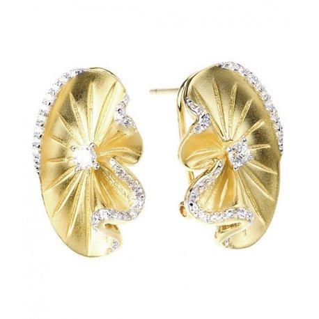 Серьги женские серебряные 925* позолота цирконий Арт 51 7 2184ж