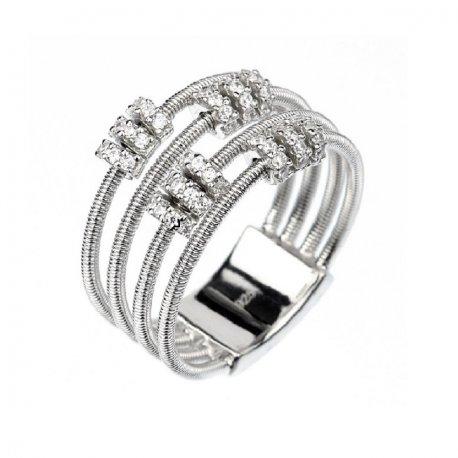 Кольцо женское серебряное 925* родий цирконий Арт 15 7 2827б
