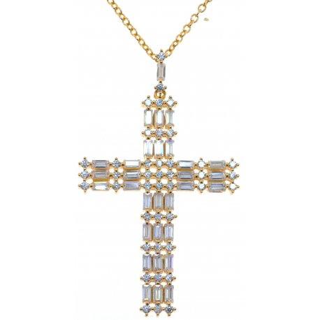 Колье женское серебряное 925* позолота цирконий Арт 52 7 3576ж