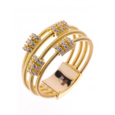 Кольцо женское серебряное 925* позолота цирконий Арт 55 7 2827ж