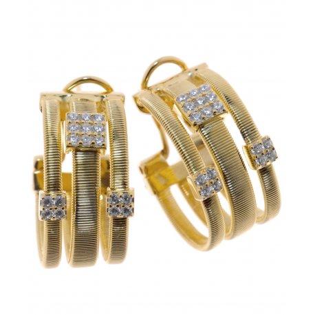 Серьги женские серебряные 925* позолота цирконий Арт 51 7 2939ж