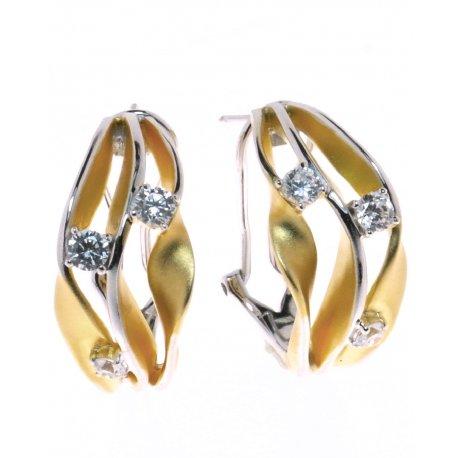 Серьги женские серебряные 925* позолота цирконий Арт 11 7 3347жб