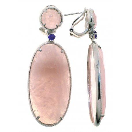 Серьги женские серебряные 925* родий розовый кварц Арт 11 5738