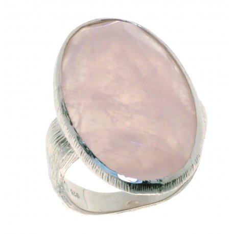 Кольцо женское серебряное 925* родий розовый кварц Арт 15 6038